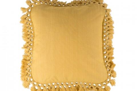 Funda cojin tela ikat amarilla oro